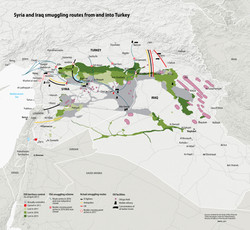Syria and Iraq smuggling routes