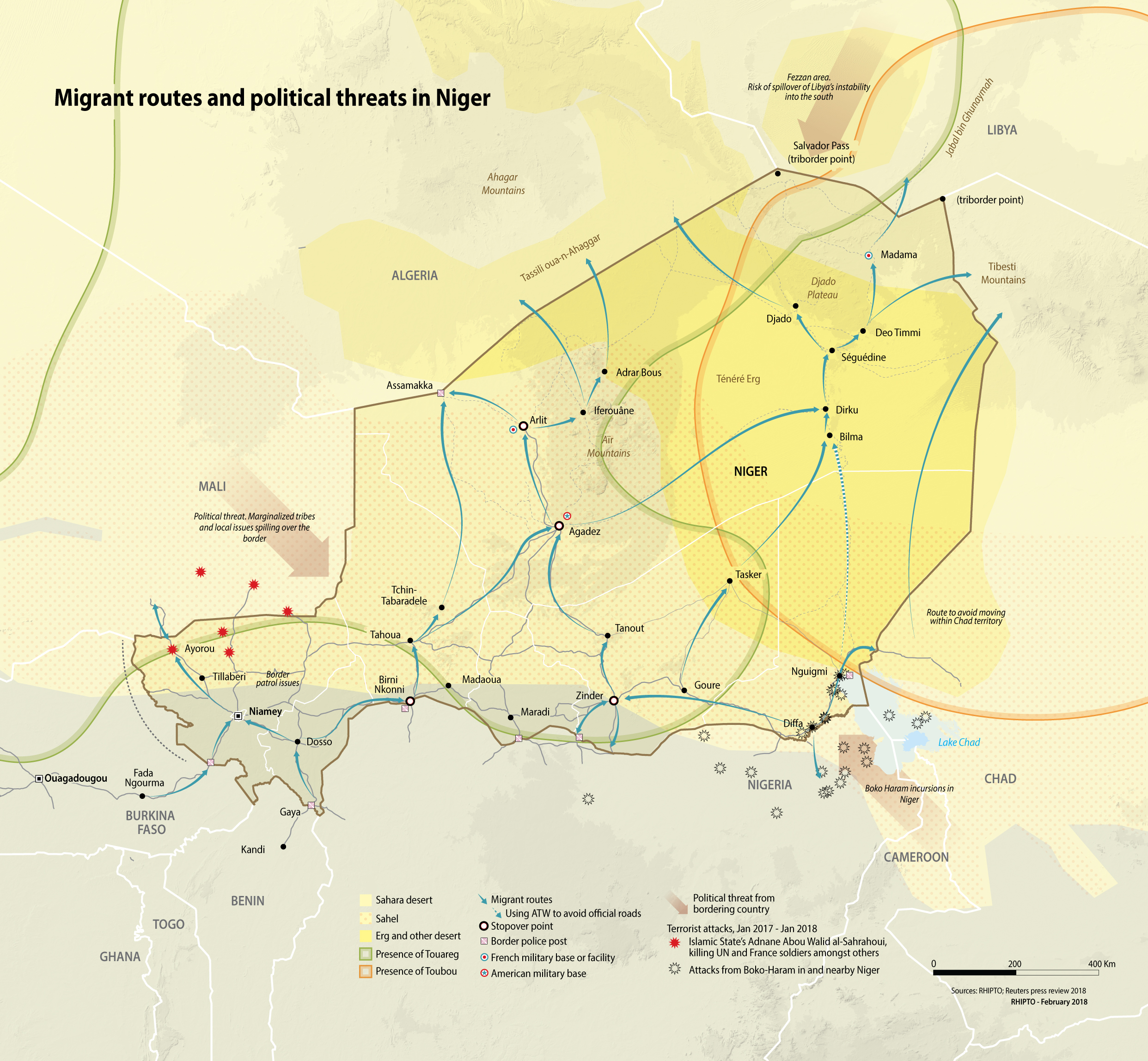 Niger smuggling routes and threats