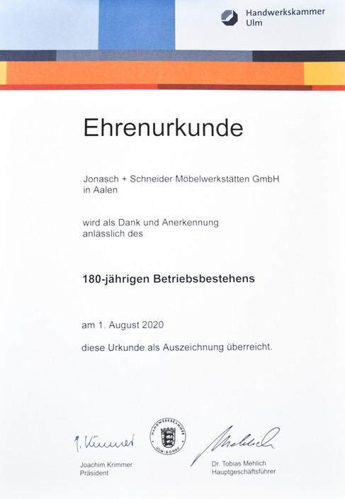 2020 Ehrenurkunde 180 Jahre