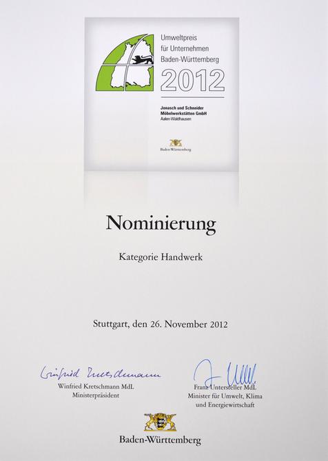 2012 Nominierung Umweltpreis Baden-Württemberg