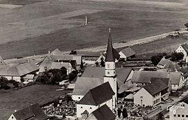 Historische Postkarte von Waldhausen mit Blick auf die frühe Schreinerei