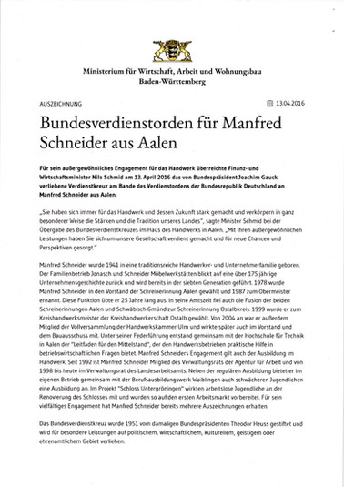2016 Bundesverdienstorden für Manfred Schneider
