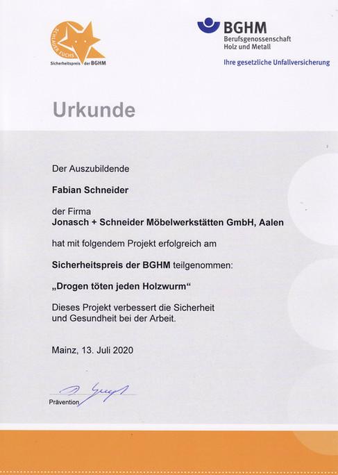 2020 Urkunde Sicherheitspreis der BGHM