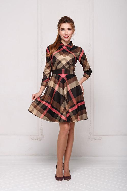 Платье в клетку с юбкой полусолнце