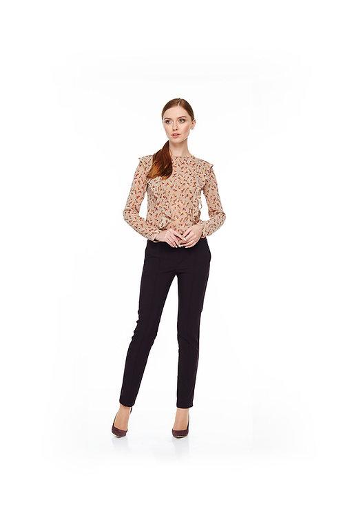 Бежевая шифоновая блуза с воланами, принт листок