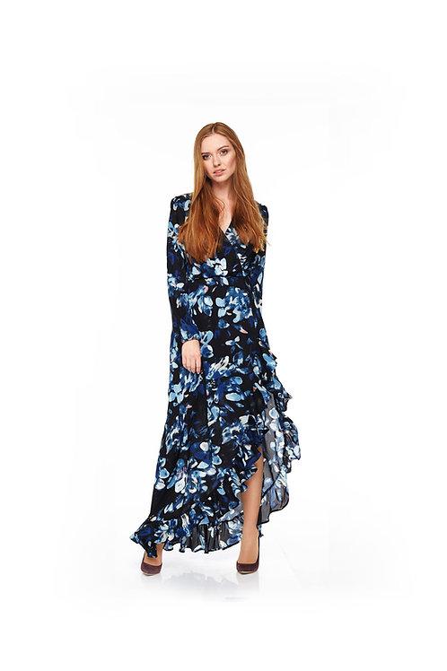 Синее длинное шифоновое платье на подкладке, отрезное по линии талии на резинке