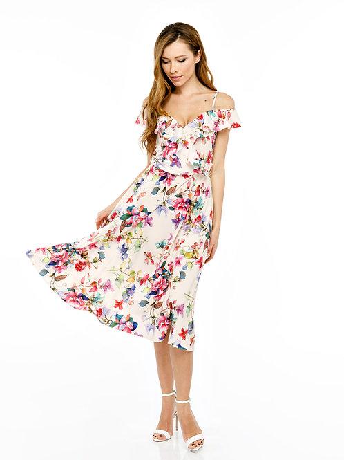Платье с воланами и юбкой миди, цветочный принт