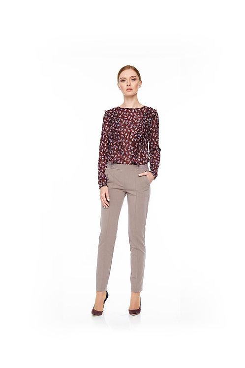 Бордовая шифоновая блуза с воланами, принт листок