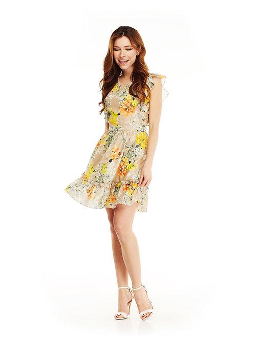 Платье с воланами, отрезное по линии талии, цветочный принт