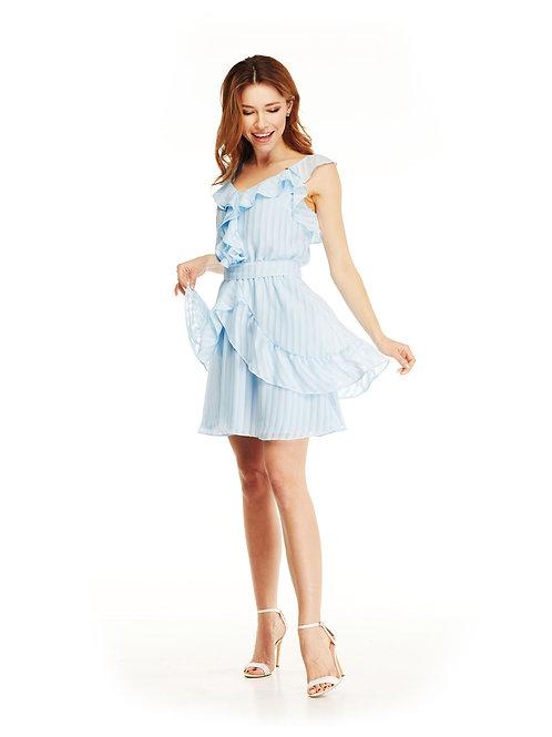 Голубое шифоновое платье с воланами, отрезное по линии талии, юбка мини
