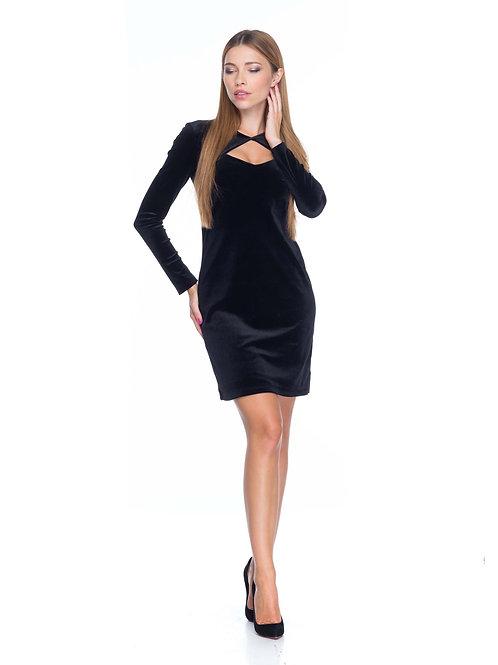 Чёрное бархатное платье с болеро