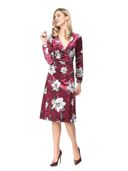 Бордовое платье на запах с цветочным принтом