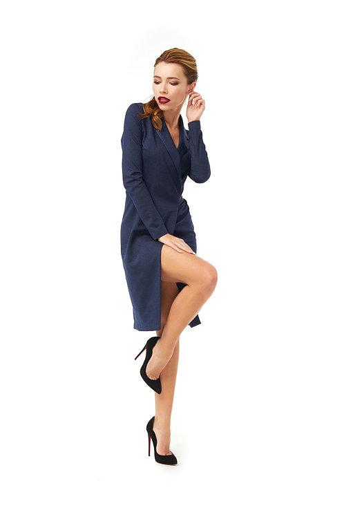 Синее платье на запах с разрезом, люрекс