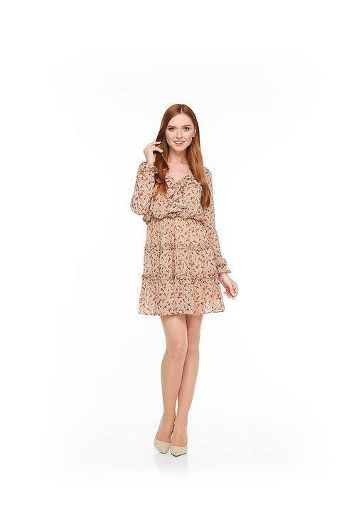 Бежевое шифоновое платье на подкладке, отрезное по линии талии на резинке