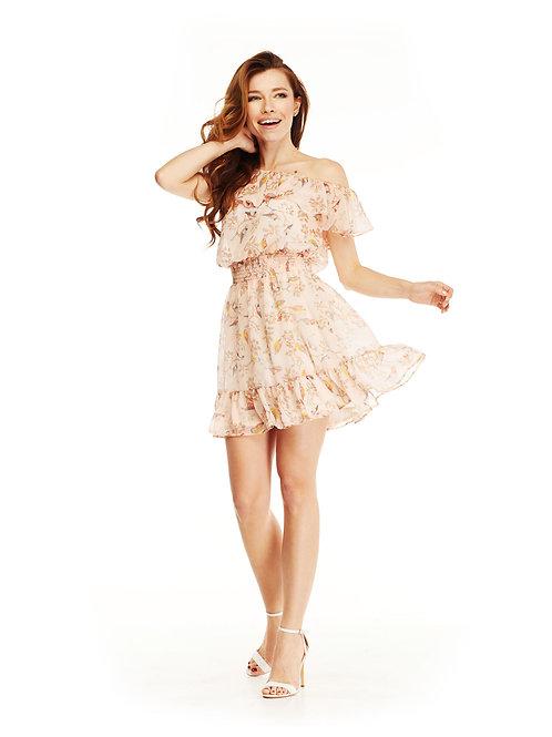 Шифоновое платье с воланами, отрезное по линии талии на резинке, принт птицы