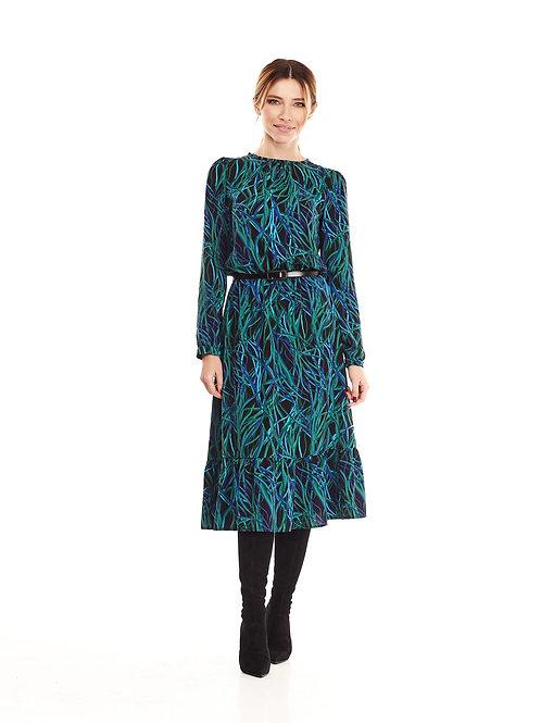 Зелёное платье на подкладке, отрезное по линии талии на резинке, юбка миди
