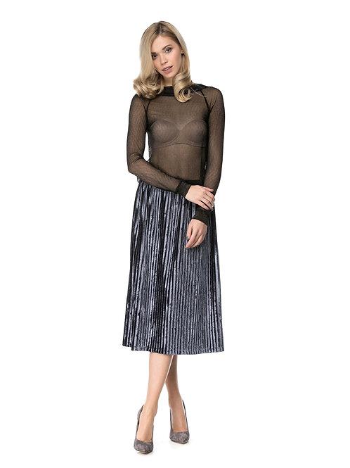 Cерое платье с бархатной плиссированной юбкой миди