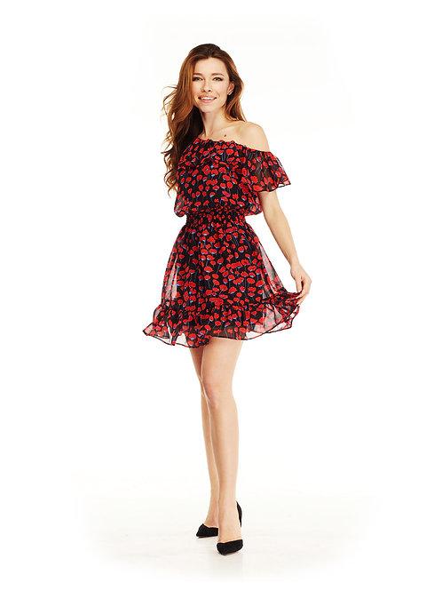 Шифоновое платье с воланами, отрезное по линии талии на резинке, принт маки