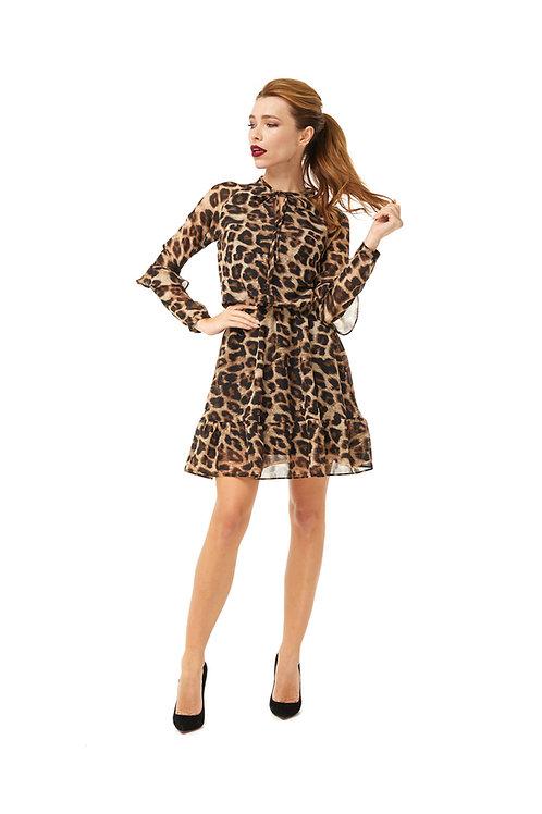 Шифоновое платье на подкладке с бантом и воланами, леопардовый принт