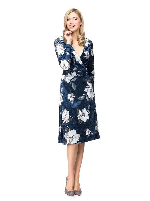 Синее платье на запах с цветочным принтом