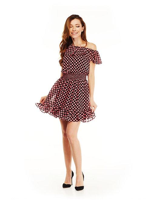 Шифоновое платье с воланами, отрезное по линии талии на резинке, принт горох