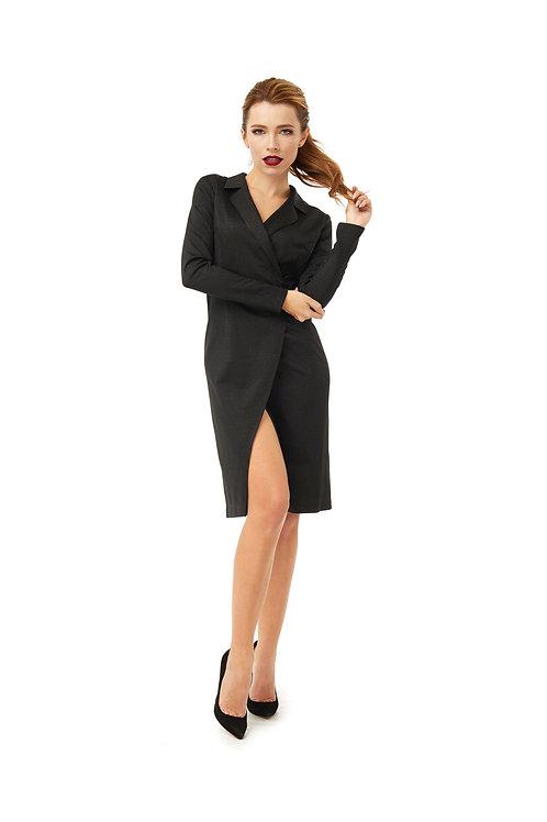 Чёрное платье на запах с разрезом, люрекс