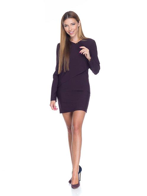 Фиолетовое двухслойное платье с v-образным вырезом