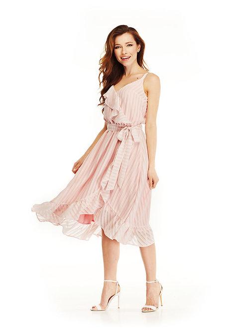 Розовое шифоновое платье с воланами, отрезное по линии талии, юбка миди