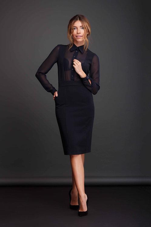 Платье футляр с шифоновыми рукавами и вставкой