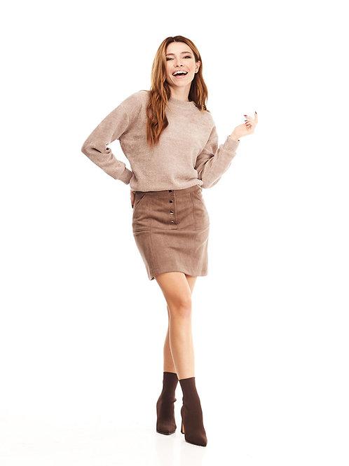 Бежевая юбка на кнопках с карманами и декоративной строчкой