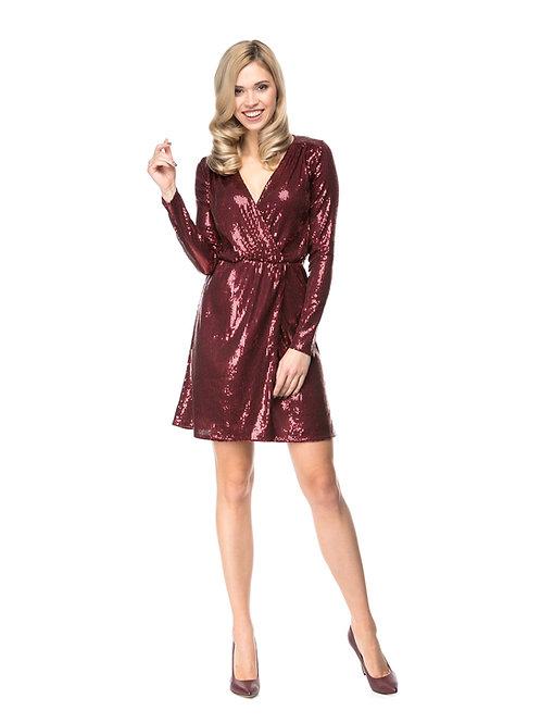 Бордовое платье на запах в пайетках