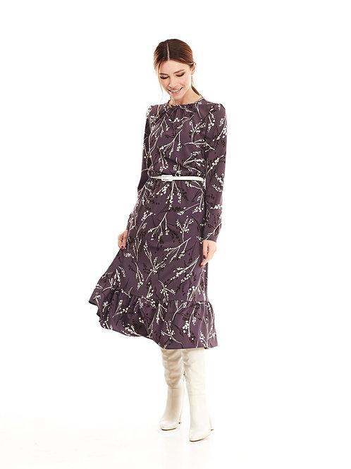 Фиолетовое платье на подкладке, отрезное по линии талии на резинке, юбка миди