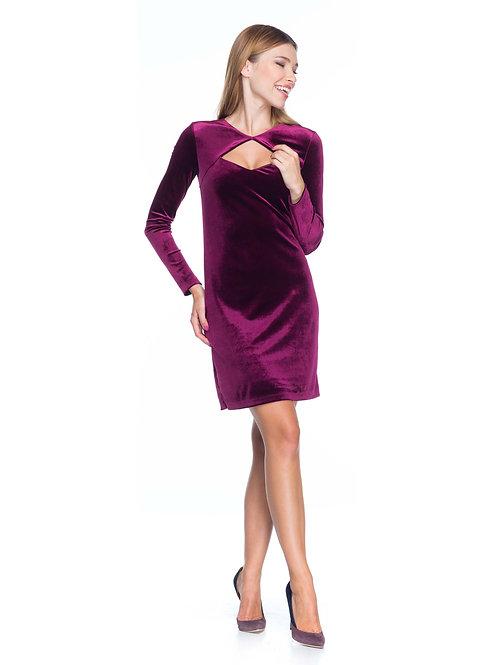 Бордовое бархатное платье с болеро