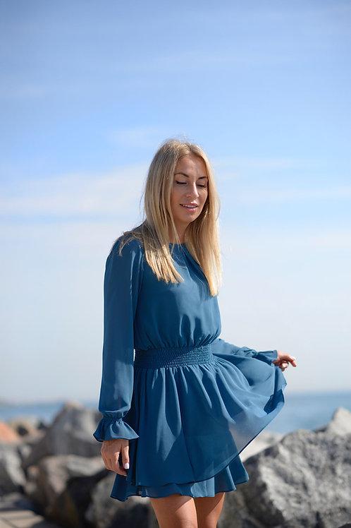Бирюзовое шифоновое платье на подкладке, отрезное по линии талии на резинке