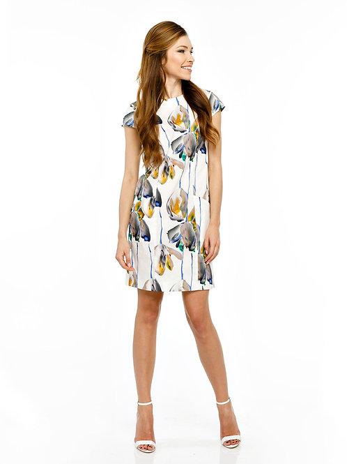 Платье свободного кроя с карманами и V-образным вырезом с пуговицами на спинке