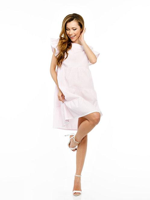 Розовое платье свободного кроя с воланами и кружевной отделкой, принт полоска