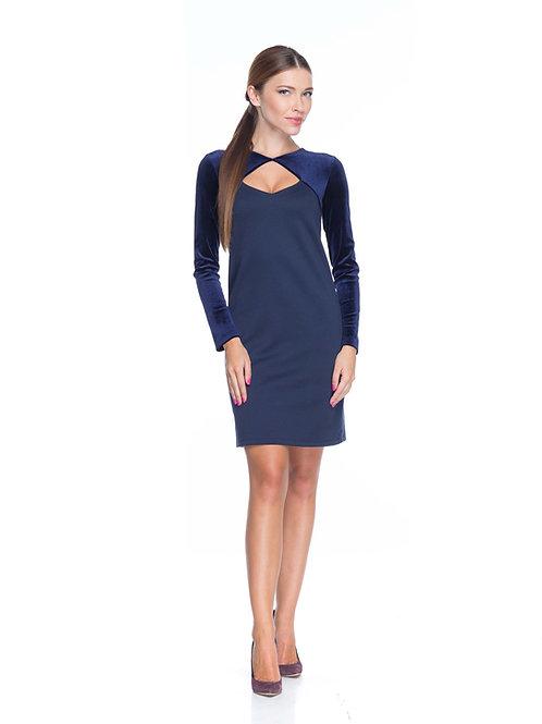 Синее трикотажное платье с болеро из бархата