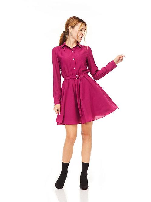 Платье с расклешенной юбкой, отрезное по линии талии на резинке