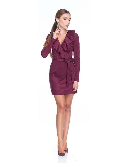 Бордовое замшевое платье на запах с воланами