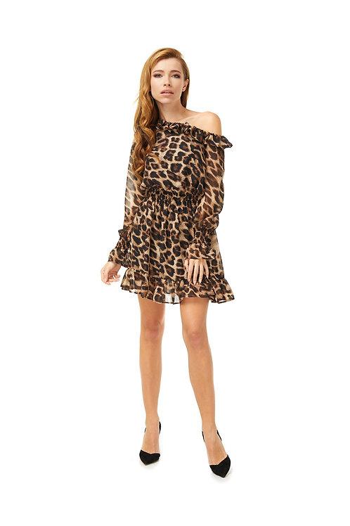 Шифоновое платье, отрезное по линии талии на резинке, леопардовый принт