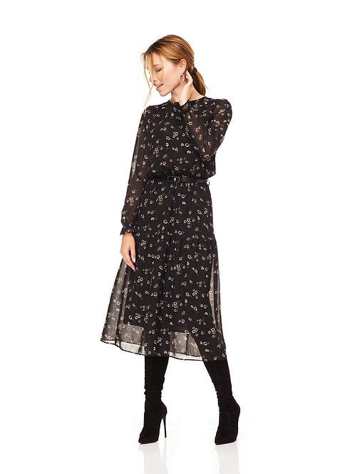 Чёрное шифоновое платье, отрезное по линии талии на резинке, юбка миди