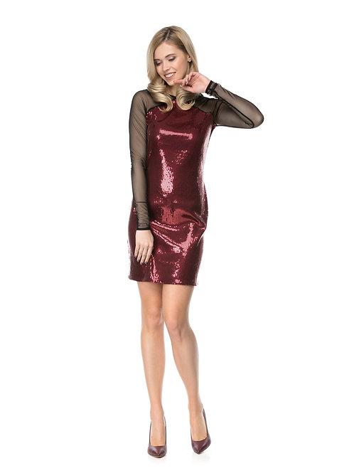 Бордовое платье в пайетках с рукавами из сетки
