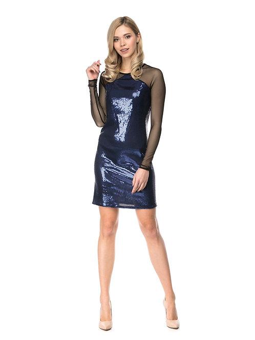 Синее платье в пайетках с рукавами из сетки