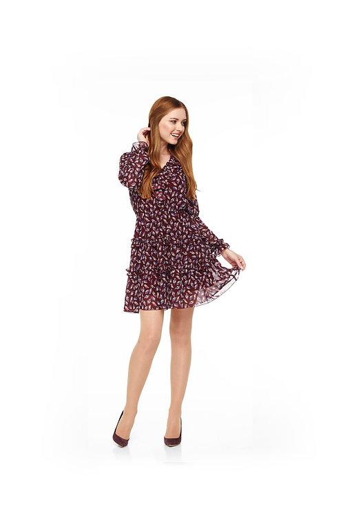 Бордовое шифоновое платье на подкладке, отрезное по линии талии на резинке