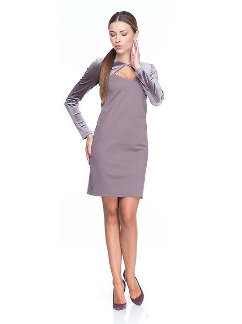 Серо-розовое трикотажное платье с болеро из бархата
