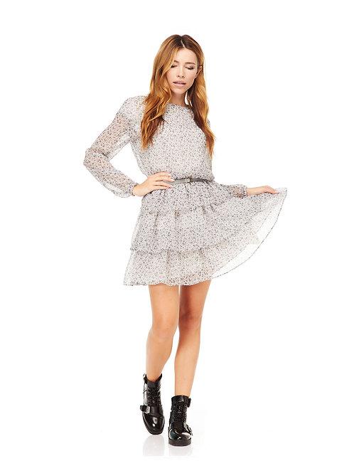 Серое шифоновое платье на подкладке, отрезное по линии талии на резинке