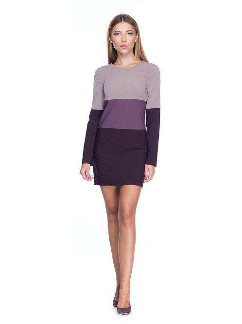 Платье свободного кроя, трёхцветное фиолетовое