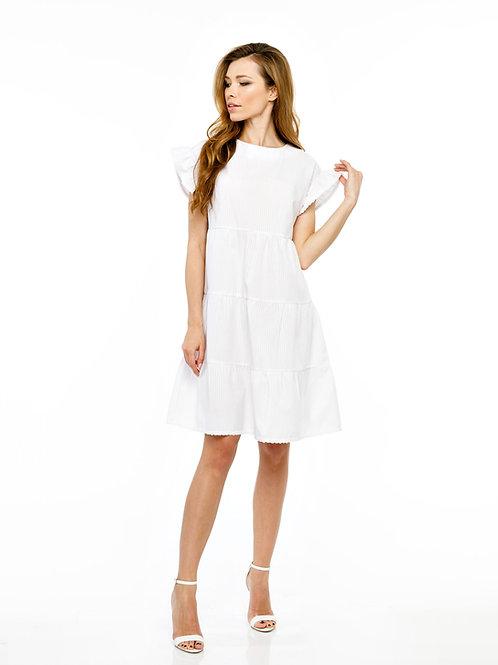 Белое платье свободного кроя с воланами и кружевной отделкой, принт полоска