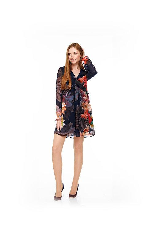 Тёмно-синее шифоновое платье на подкладке, свободного кроя с V-образным вырезом