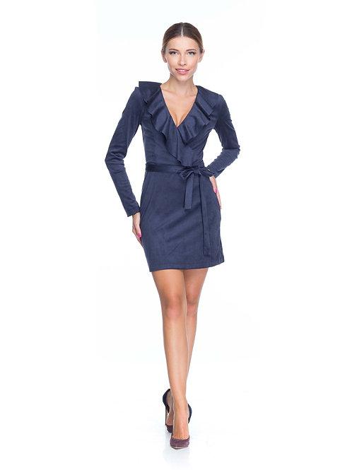 Синее замшевое платье на запах с воланами